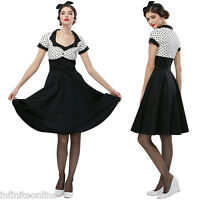 Vintage Womens 50s 60s Rockabilly Polka Dot Short Sleeve Retro Party Swing Dress