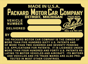1923, 24, 25 Packard Cowl Plate  VIN ID Identification Varies by model Style M