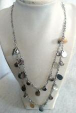 "18-22"" Double Silver Tone Chains Necklace Dangling Silver Tone Disks"