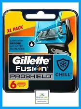 Gillette Fusion PROSHIELD Chill 6 hojas de afeitar XL Pack - 100% Auténtico-Rápido P&P