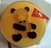 AC Teddy Bear sports fan pin badge