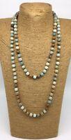 Fashion semi precious stone long knot Amazonite Stones Necklace woman jewelry