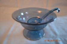 Stunning Smokey Blue Glass Mayonnaise Bowl with Ladle