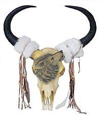 Großer Deko Skull Big Longhorn mit Wolf, 58 cm Western Cowboy
