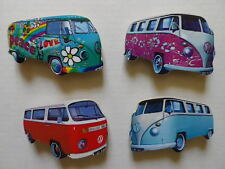 SET OF 4 CLASSIC VW CAMPER VAN NEW FRIDGE MAGNETS.PINK,RED,BLUE & LOVE & PEACE