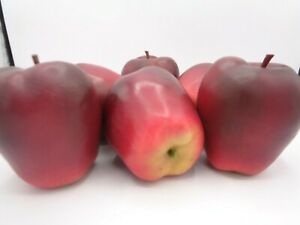 Vintage Life Size Realistic Artificial Fake Plastic 6 Red Delicious Apples