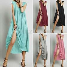 Zanzea AU 8-24 Womens Loose Baggy Tunic Boho Long Maxi Dress Beach Sundress Plus