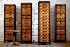 4 x Schubladenschrank Bauhaus Loft Antik Apothekerschrank Holz Fabrik Alt Groß