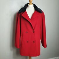 Vintage (UK Size 16) Red Double Breasted Woollen Jacket Black Faux Fur Collar