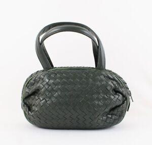 Peruzzi Authentic Vintage  Dark Green Woven Leather Small Satchel Handbag