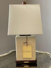 Ralph Lauren Medium Beige Crackle Finish Porcelain Table Lamp & Shade New