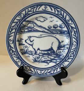 Williams Sonoma Brittany Pig Salad Dessert Plate Blue & White EUC Farm Animals