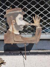 Ancienne Sculpture-objet grande girouette enseigne de magasin fer forgé