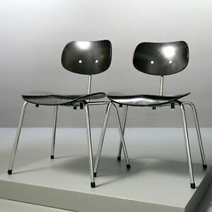 2x Stuhl SE 68 SU, Wilde+Spieth, Egon Eiermann SE68, Chair Vintage schwarz 9364