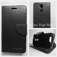 Black PU Leather Wallet Case Cover  for Telstra Tough Max 2 T85  +SP Anti-Broken