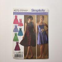 Simplicity 4070 Size 6-14 Misses' Miss Petite Dresses w/ Bodice & Skirt Variatio