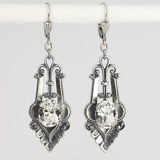 Ohrringe Ohrhänger lang Silber Swarovski Kristall – Vintage retro – Crystal klar