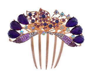 De Luxe Sparkle Cristal Violet Papillon Mariage Accessoires Cheveux Peigne HA177