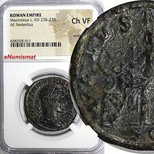 Roman Empire Maximinus I AD 235-238 AE Sestertius NGC CH VF Sear# 2355