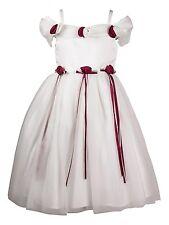 Süßes Kleid Sarah creme beige Rosen rot Satin Tüll Mädchen Hochzeit Blumenkind