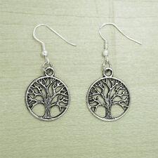Vintage Silver Tribal Celtic Tree Of Life Earrings 925 Sterling Silver Hooks NEW