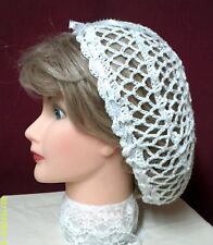 CIVIL WAR, VICTORIAN, HAND MADE CROCHET, WHITE TEA SNOOD 100% COTTON
