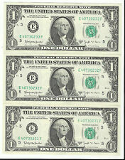 3 CONSECUTIVE~~ **BARR NOTES** $1 BILL-SERIES 1963 B  FEDERAL RESERVE NOTES