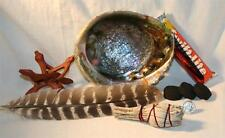 Turkey Smudging Feather Abalone Shell Charcoal Tablets Wood Stand White Sage