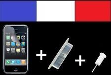 1 LOT BLANC anti-poussière + 1 FILM DE PROTECTION D'ECRAN iphone bouchon 3G 3Gs