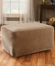 Sure Fit Stretch Pique Ottoman Slipcover - Cream