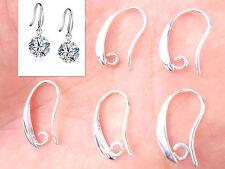 10PCS Make Jewelry Findings Light Silver Smooth Pinch Bail Ear Wire Hook Earring
