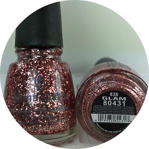 China Glaze Nail Polish GLAM 838 Stunning Gold Rosy Pink Glitter Lacquer
