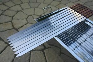 8 x NEW STAINLESS STEEL FLAT SHISH KEBAB BBQ CYPRUS SKEWERS