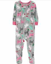 Carter's Toddler Girl Gray Christmas Cat Fleece Pajamas Size 3T NEW
