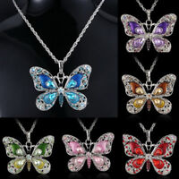New Lady Jewelry Enamel Butterfly Crystal Silver Pendant Necklace Fashion Chain