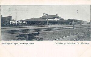 H66/ Hastings Nebraska Postcard c1908 Burlington Railroad Depot  40
