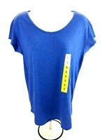 Alternative Organic Womens Small T-shirt Top Short Sleeve Blue Casual Modal Yoga