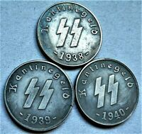 1938/40 WW2 SET OF 3 GERMAN SS COLLECTOR COINS 1 SCHILLING KANTINEGELD