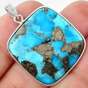 Kingman Turquoise With Pyrite 925 Sterling Silver Pendant Jewelry 5018