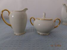 JKW West Germany Bavaria Off White/Gold Rim Cream and Sugar Set