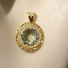 """9ct Gold Sky Blue Topaz """"Arezzo D'Oro"""" Pendant"""