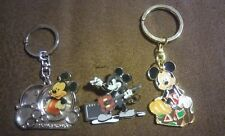 3 pcs Walt Disney Collectible Mickey Mouse 2 Keychains & 1 Guitar Shirt Pin NEW