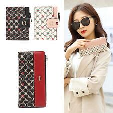 Bow Print Wallets for Women Card Holder Purse Buckle Elegant Clutch Wallet US