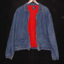 Vintage RALPH LAUREN POLO XL Fully Zippered Red Lined Blue Denim Mens USA Jacket