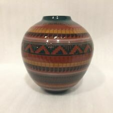 Cora Emerson NAVAJO Pottery Etched/Carved Vase Signed by Artist 2004