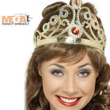 Jewelled Queens Crown Royal Fancy Dress Ladies Tiara Womens Costume Accessory