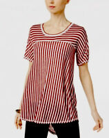 NY Collection Women's Stripe Print Knit High-Low Top Red Striped Size Small