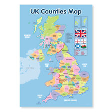 A3 laminated NEW UK Counties Map Educational Poster