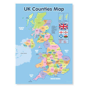 UK COUNTIES MAP A4 POSTER A4