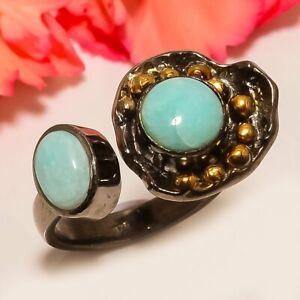 Russian Amazonite Gold Plated Handmade Handmade Jewelry Ring s.7 T8695
